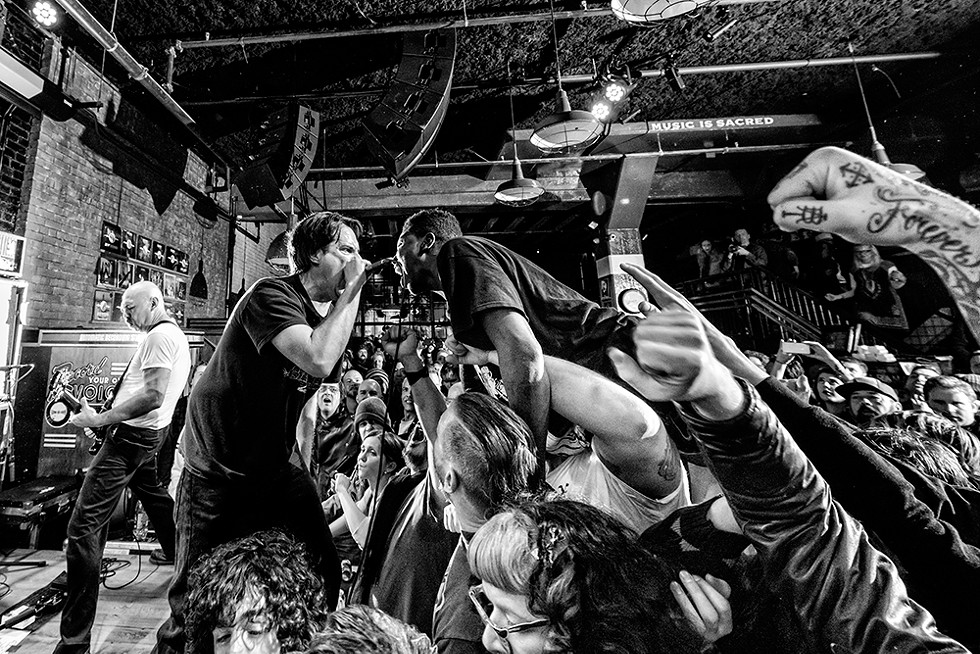 Fueled by Burger Thang: Detroit hardcore favorites Negative Approach play a raucous show at Third Man Records in 2016. - DOUG COOMBE