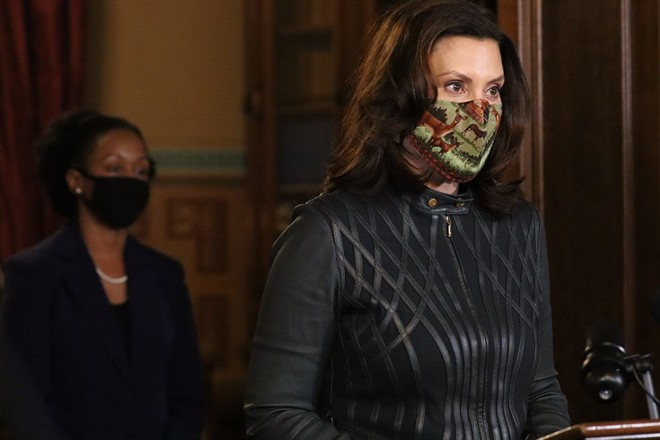 Dr. Joneigh Khaldun, the state's chief medical executive, and Gov. Gretchen Whitmer at a recent news conference. - STATE OF MICHIGAN