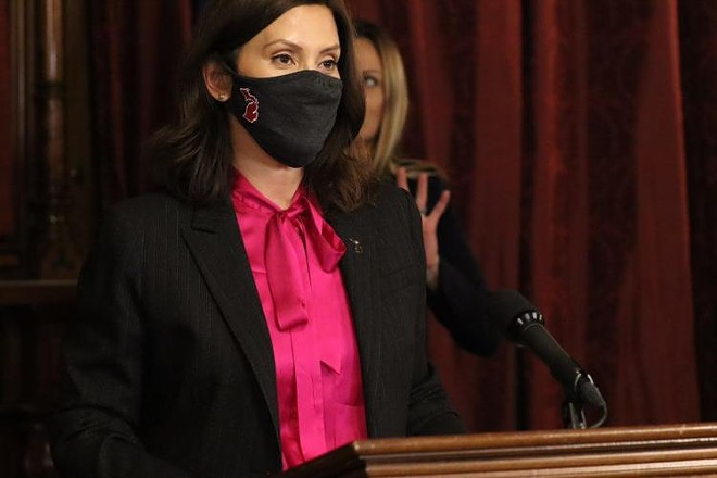 Gov. Gretchen Whitmer presents remarks at a press conference held on Nov. 10, 2020. - STATE OF MICHIGAN