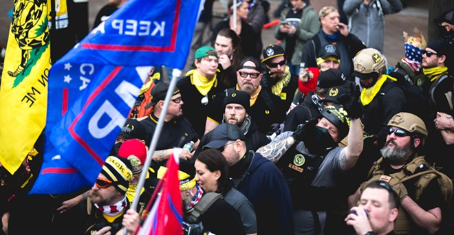 """The """"Million MAGA March"""" saw Proud Boys gather in Washington, D.C. in December. - JOHNNY SILVERCLOUD / SHUTTERSTOCK.COM"""