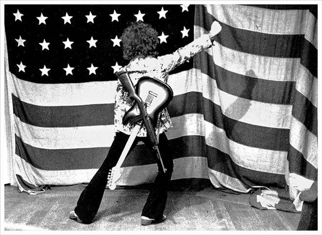 MC5 band member Wayne Kramer in Ann Arbor, Michigan, B&W photograph, 1969. - PHOTO BY LENI SINCLAIR, COURTESY OF MOCAD