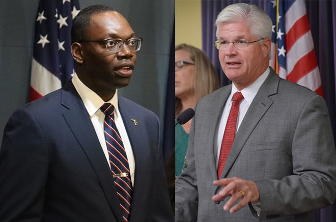 Lt. Governor Garlin Gilchrist II, left, and state Sen. Mike Shirkey. - STATE OF MICHIGAN/