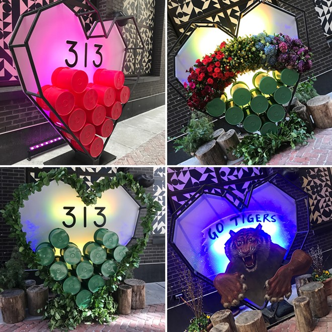 """Detroit's """"313 Heart"""" has become an ever-changing art installation. - COURTESY PHOTOS"""