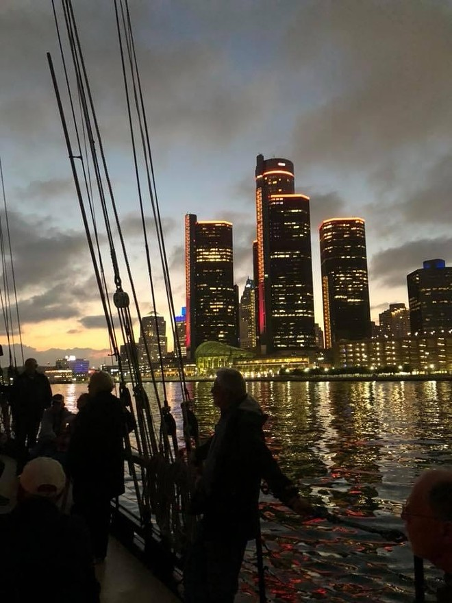The Appledore IV against the Detroit skyline. - COURTESY PHOTO