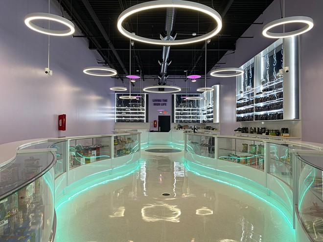 Leaf and Bud's long Detroit showroom is flanked by two curvy, neon-accented countertops. - COURTESY OF LEAF AND BUD