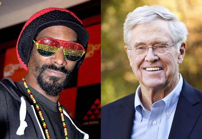 Snoop Dogg, left, and Charles Koch. - BOLLYWOOD HUNGAMA, GAVIN PETERS | WIKIMEDIA CREATIVE COMMONS