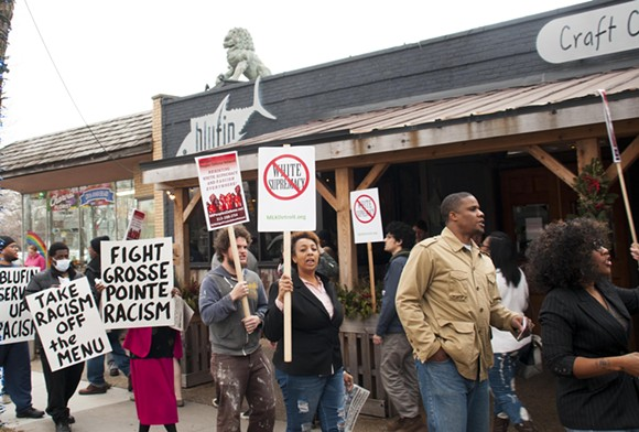 Protestors outside Blufin on Wednesday afternoon. - PHOTO BY TOM PERKINS