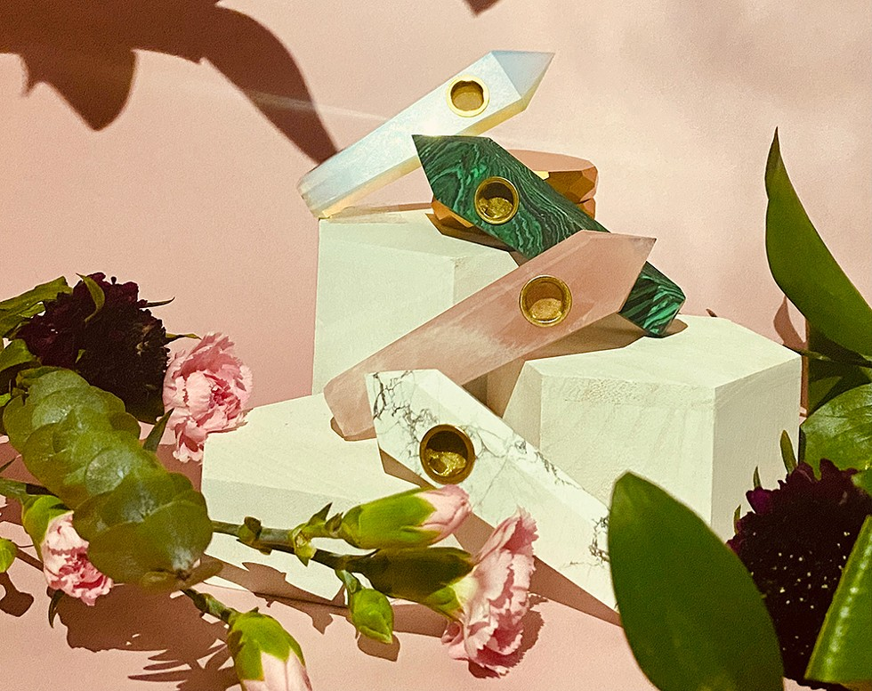 Cannabis brand Verdeux's recently launched spring collection features a splash of bright colors, including rainbow cones, ombre pink pipes, and rose gold accessories. - VERDEUX