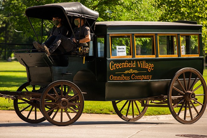 """Greenfield Village is offering rides in its old-timey """"Omnibus"""" horse-drawn carriages. - COURTESY OF GREENFIELD VILLAGE"""