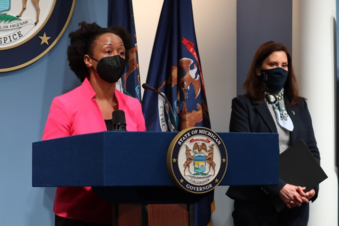 Michigan Department of Health and Human Services chief medical executive Dr. Joneigh Khaldun, left, and Governor Gretchen Whitmer address Michigan's COVID-19 outbreak. - STATE OF MICHIGAN