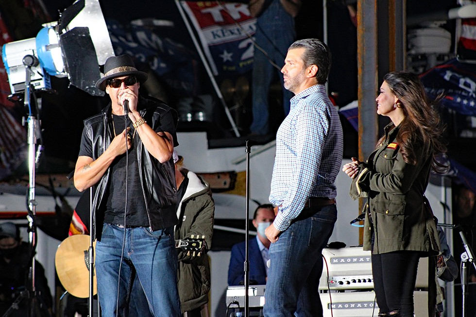 Kid Rock, Donald Trump Jr, and Kimberly Guilfoyle  campaign at at Trump rally in Harrison Township in September. - MICHAELANTHONYPHOTOS / SHUTTERSTOCK.COM