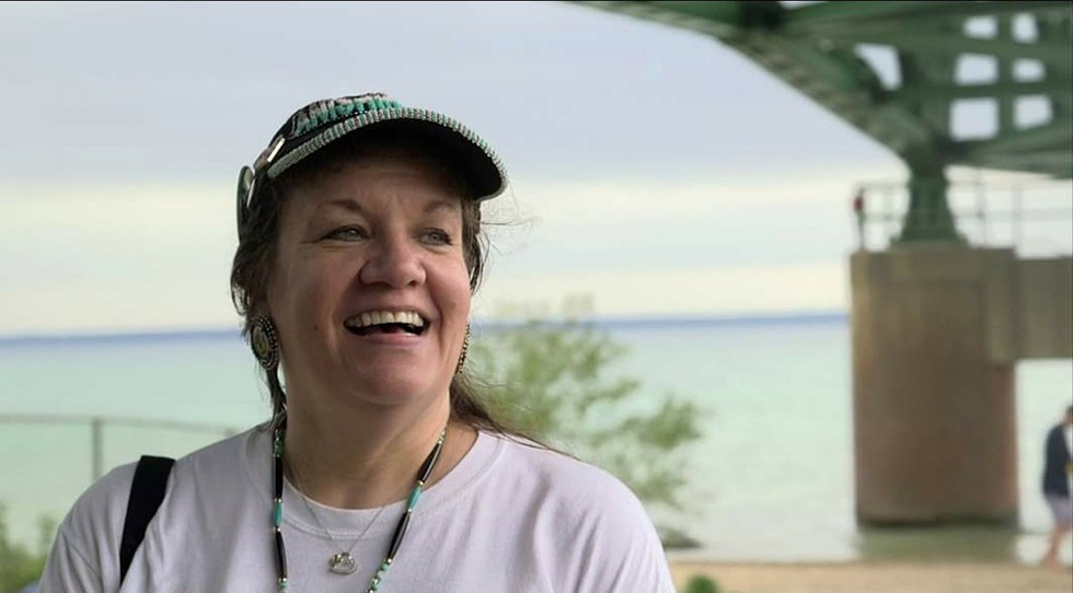 Environmental activists like Andrea Pierce believe an underwater circle of stones near Enbridge's Line 5 pipeline could be a cultural site from 10,000 years ago. - COURTESY PHOTO