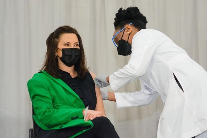 Gov. Gretchen Whitmer got her second COVID-19 vaccine dose on Thursday, April 29. - STATE OF MICHIGAN