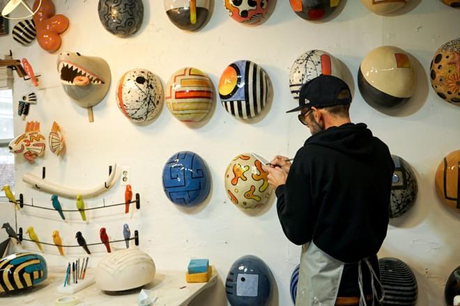 "Artist Iggy Sumnik and his ceramic ""Jellybeans."" - MOLLY LEEBOVE"