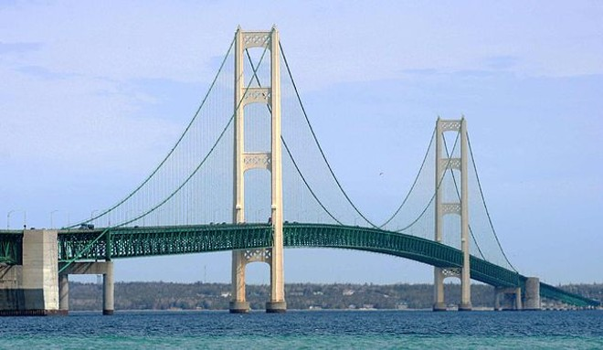 Enbridge Inc.'s Line 5, which runs through the Straits of Mackinac, has spilled more than 1 million gallons of fossil fuels into waters since 1968, according to researchers. - JEFFNESS, WIKIMEDIA COMMONS
