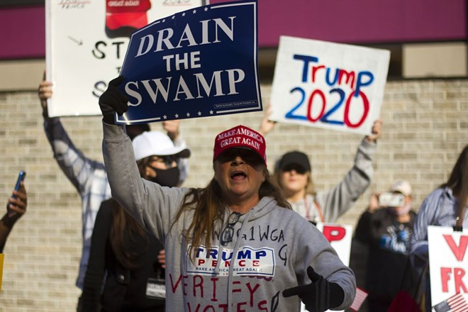 President Donald Trump supporters gathered in Detroit to protest the election results in November 2020. - STEVE NEAVLING