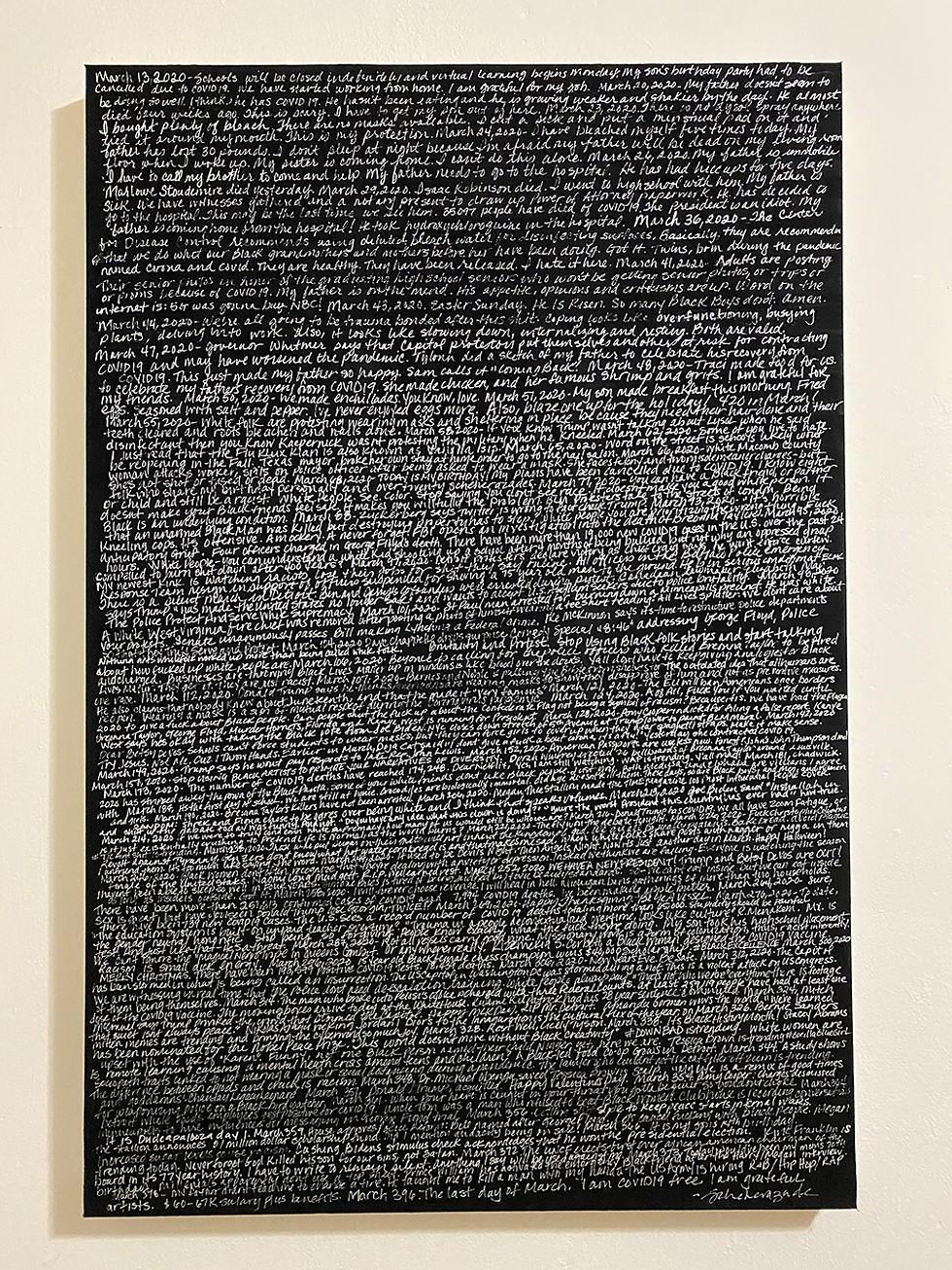 """The Year of March,"" Scheherazade Washington Parrish. Oil and acrylic, 24""x36"". - TYLONN J. SAWYER."