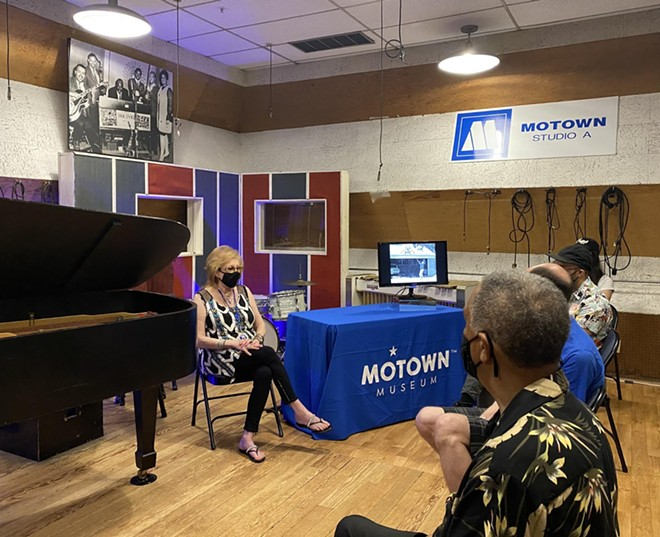 Dayna Hartwick, who played flute on Marvin Gaye's classic What's Going On album, holds court in Studio A at the Motown Museum Friday, May 21. - DAVE MESREY