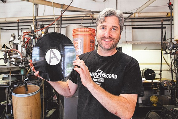 MIKE ARCHER AT HIS RECORD PRESSING PLANT. METRO TIMES FILE PHOTO.