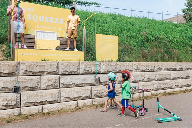 Bea's Squeeze started as a lemonade stand that uses a bucket and pulley to lower drinks to Detroit's Dequindre Cut. - PHOTO COURTESY OF BEA'S SQUEEZE