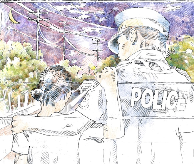 Macdonald's original sketch for the Sterling Heights Police Department painting. - NICOLE MACDONALD