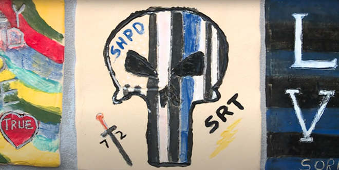 A tile featuring the controversial 'Punisher' logo, which has become co-opted by white supremacy and hate groups. - SCREENGRAB, CITY OF STERLING HEIGHTS YOUTUBE