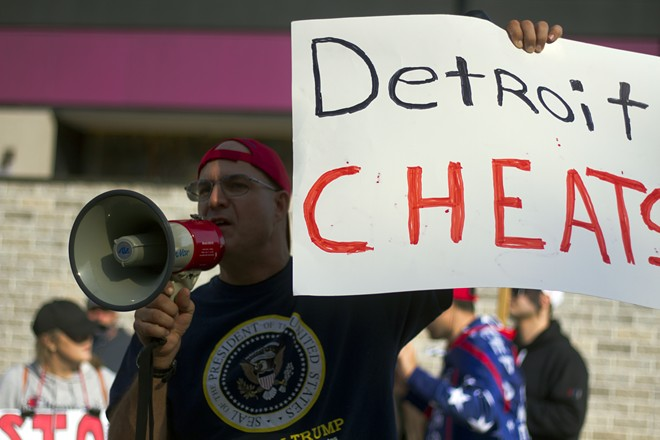 Trump supporters rallied outside the TCF Center in Detroit in November, falsely claiming voter fraud. - STEVE NEAVLING