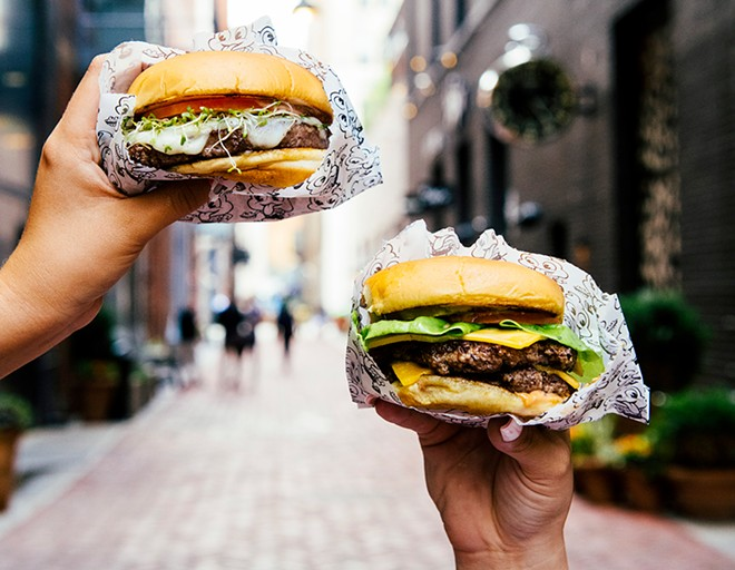 Mister Dips's signature griddle burgers. - COURTESY PHOTO