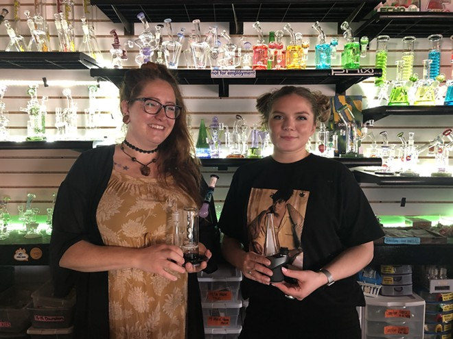 B.D.T.'s Ashley W. (with a glass rig) and Dana Elgie (with an e-rig) teach us how to dab. - LEE DEVITO