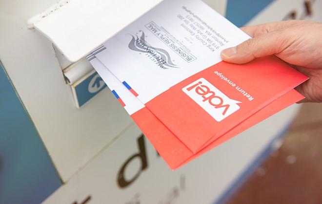 An absentee ballot drop box. - SHUTTESTOCK.COM