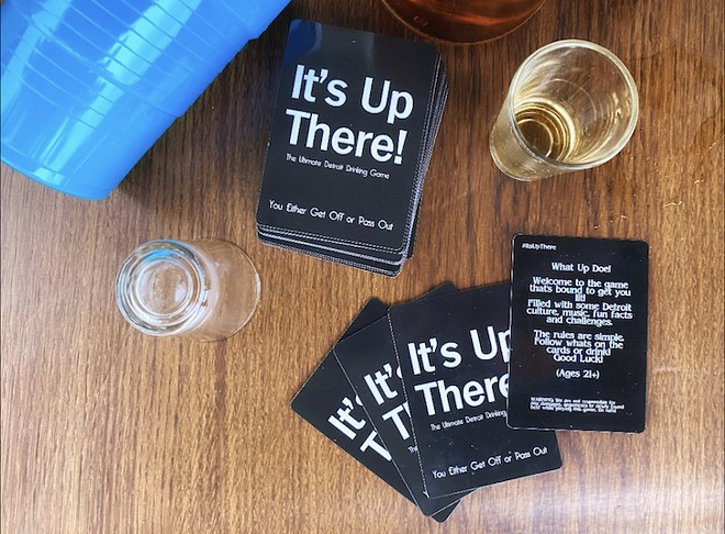 """The """"It's Up There!"""" drinking game tests players on all things Detroit culture. - ALEX WASHINGTON"""