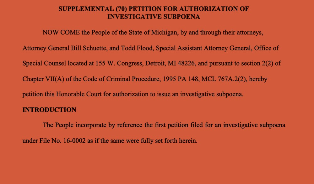 The draft of a subpoena for prosecutors to interview Jim Fick, a state of Michigan IT official. - OBTAINED BY THE INTERCEPT