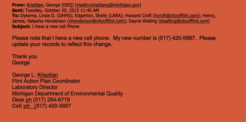 George Krisztian emails colleagues on October 20, 2015, informing them he has a new cellphone and new number. - OBTAINED BY THE INTERCEPT