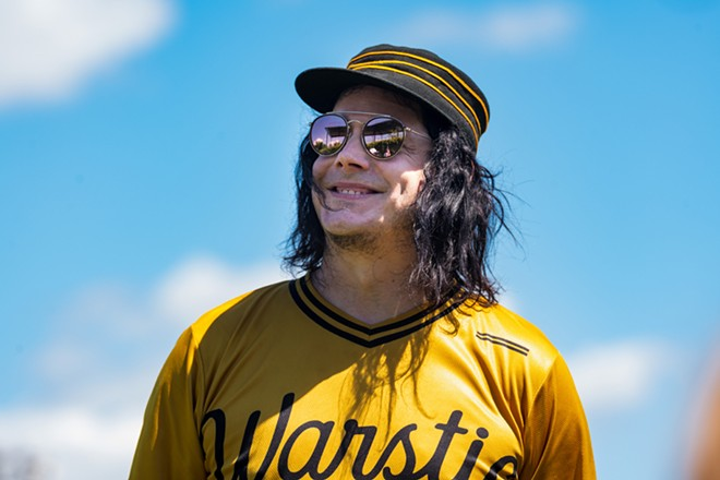 Rock star Jack White at a celebrity baseball game at Hamtramck Stadium in 2019. - DOUG COOMBE