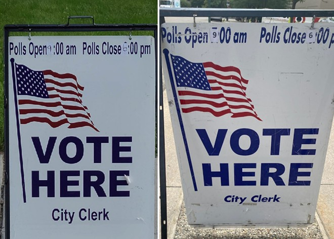 U.S. Rep. Rashida Tlaib posted photos showing signs with the wrong polling hours in Detroit. - TWITTER, @RASHIDATLAIB
