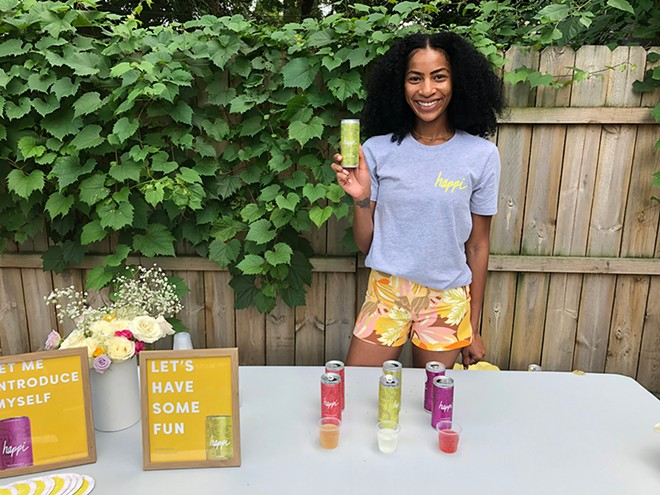 THC-infused Happi debuted with a launch party in Detroit. Each can has 2.5 mg of THC, enough to mimic the effects of a glass of wine. - LEE DEVITO