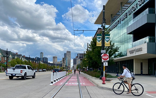 A new transit-only lane has been installed in front of Little Caesars Arena. - DAVE MESREY