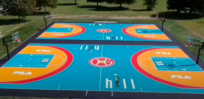 Former Detroit Piston Grant Hill and sportswear brand FILA unveil new basketball courts at Chandler Park on Detroit's Eastside. - SCREENGRAB VIA CHANDLER PARK CONSERVANCY / YOUTUBE