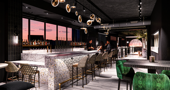 Rendering of The I|O Rooftop Lounge atop The Godfrey Hotel Detroit. - OXFORD CAPITAL GROUP AND HUNTER PASTEUR