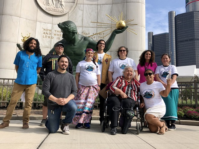 The Detroit Indigenous Peoples Alliance gathered outside the Spirit of Detroit on Indigenous People's Day. - STEVE NEAVLING