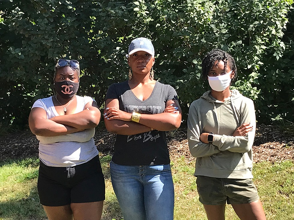 Three survivors (from left: Aaliyah Morrison, Niambe Ewing, and Ravone Fields) came forward to allege unsafe conditions at Ann Arbor's SafeHouse Center. - P.D. LESKO