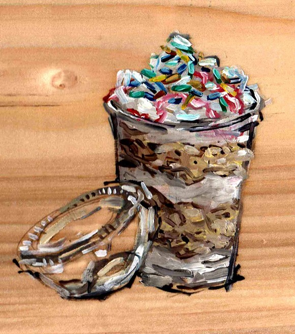 The cake cup from Mocha Cafe Sweets, Sandwiches, and Cakes. - PAINTING BY EMILY WOOD