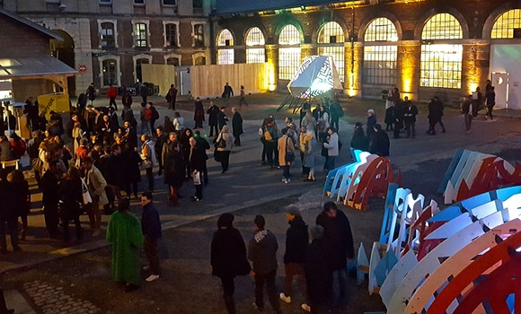 The Out of Site courtyard on opening night at the Biennale Internationale Design Saint-Étienne. - SARAH ROSE SHARP