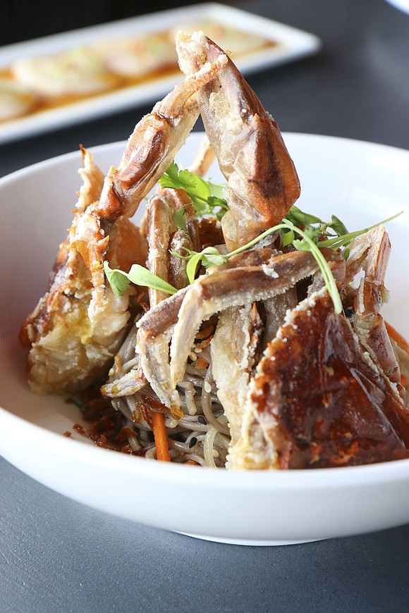 The soft shell crab with soba noodle salad from The Peterboro. - SCOTT SPELLMAN