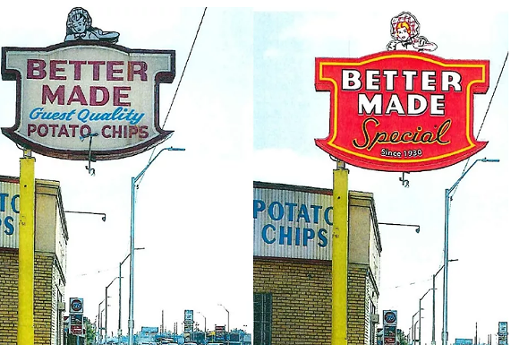 The original sign is on the left, the new one will look like this rendering on the right - COURTESY PHOTO.