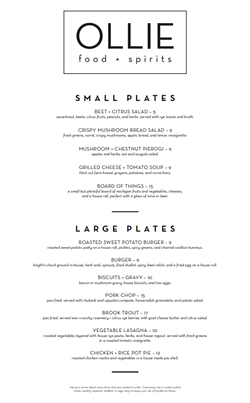 Ollie's dinner menu. Not pictured: Ollie's lunch, brunch, and bar menus. - COURTESY PHOTO
