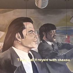 "A Jeremy Harvey mural of the ""Royale with Cheese"" scene in Pulp Fiction that's depicted on Royale With Cheese's wall. - ROYALE WITH CHEESE INSTAGRAM"