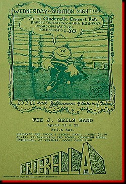 POSTER FOR THE J. GEILS BAND (SHOW WHERE THEY RECORDED 'FULL HOUSE'), WITH THE GRANDE'S STANLEY THE MAD HATTER AS MASTER OF CEREMONIES