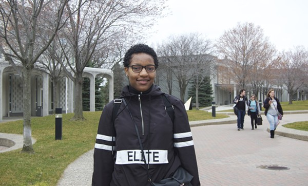 Detroit Promise scholarship recipient Ava Gaymon, 18, on the campus of Macomb County Community College. - VIOLET IKONOMOVA