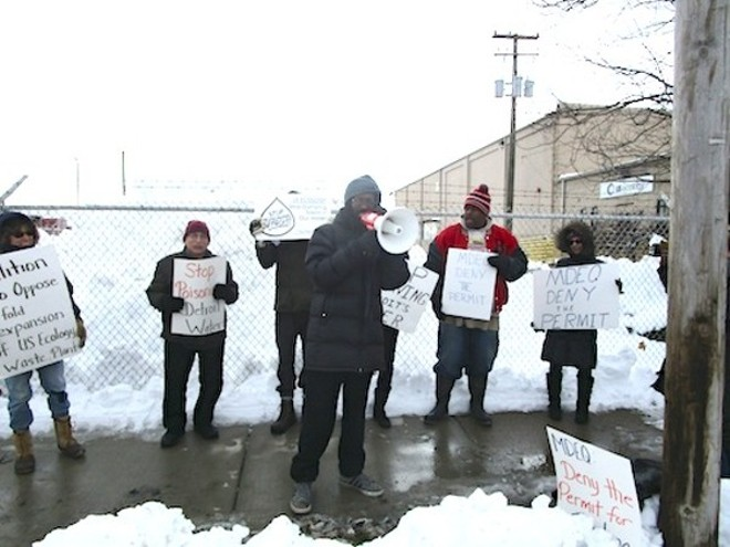 Protestors affiliated with the Coalition to Oppose Expansion of US Ecology protest outside the company's Georgia Street facility. - MT FILE PHOTO